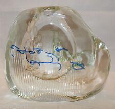 Skrdlovice Czech Bohemian Art Glass Heavy Flower Vase Clear Blue Rare 4kg Plus