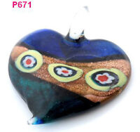 1pc heart flower abstract lampwork art glass beaded pendant necklace p671