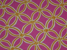 Hot pink cotton fabric circle quilting dress material gold rings 2 yards 17""
