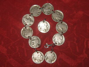AUTHENTIC AMERICAN SOUTHWEST BUFFALO NICKEL COIN BRACELET,EARRINGS SET