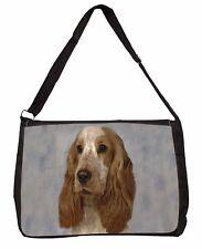 Orange Roan Cocker Spaniel Dog Large Black Laptop Shoulder Bag School, AD-SC28SB