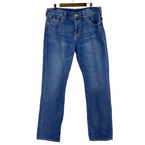 True Religion Ricky Flap Big T Relaxed Straight Leg Logo Jeans Y2K Size 36 x 34