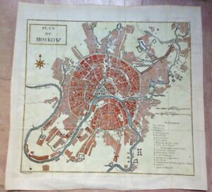 XVIIIe SIECLE 1780 RUSSIA MOSCOW by CLAUSNER NICE ANTIQUE ENGRAVED PLAN