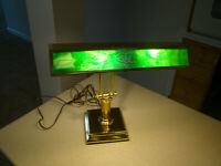 Large Green Slag Glass Brass Bankers Desk Lamp Double Adjustable Arm Piano Lamp