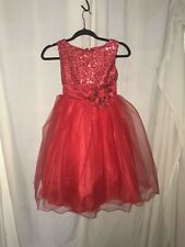 Girl Red Sparkle Puffy Bling Sequined Sleeveless Pageant / Holiday Dress (11-12)