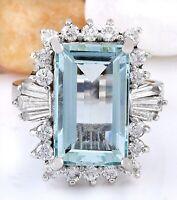 7.13 Carat Natural Aquamarine 14K Solid White Gold Diamond Ring