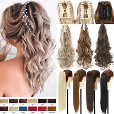 Long Natural Jaw Claw On Ponytail Clip In Hair Extensions Pony Tail Piece Blonde