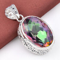 25 Ct Huge Vintage Natural Rainbow Mystical Topaz Gems Silver Necklace Pendant