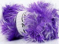 Safari - Purple & White Long Eyelash Yarn #36739 Ice 100gram