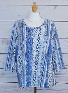 ALFRED DUNNER Size 2X Blue Animal Print 3/4 Sleeve Knit Top