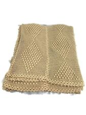 Knitted Bedspread Twin Bobble Stitch Beige Open Stitch Very Nice