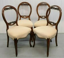 SET OF FOUR DINING WALNUT BALLON BACK SOFT VELVET SEAT CHAIRS ON CABRIOLE LEGS