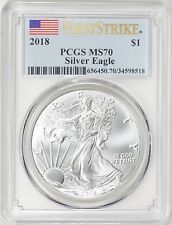 2018 ~ AMERICAN SILVER  EAGLE ~ PCGS ~ MS~70 ~ FIRST STRIKE ~FLAWLESS GEM~ $9.99