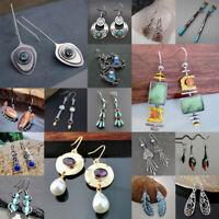 925 Silver Emerald Sapphire Earrings Turquoise Ear Studs Hook Dangle Jewelry