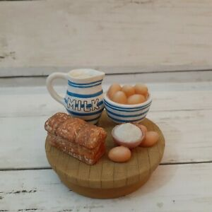 OUR AMERICA CANDLE JAR TOPPER Milk Bread And Eggs Table Top Farmhouse