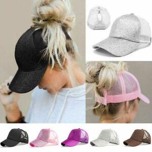 Ladies Ponytail Baseball Cap Snapback Summer Women Sun Shade Sport Mesh Hat