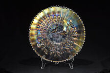 Rare 1912 Peacocks On Fence by Northwood White Iridescent 9� D Plate Rayed Back