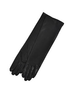 Ralph Lauren Purple Label Black Silk Leather Evening Gloves New $350