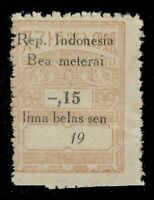 1940's Netherlands Indies Japanese Occ. Bea Meterai General Tax Fiscal 15c Mint