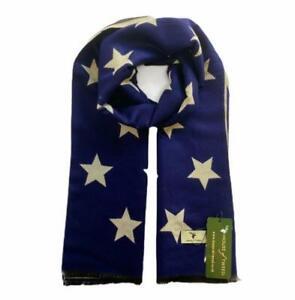 HOUSE OF TWEED CREAM & NAVY BLUE STARS DESIGN SCARF HOT200308