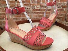 Isaac Mizrahi Pink Leather Macie Ankle Strap Cork Wedge Sandal New