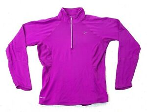 Womens Nike Dri Fit Fuchsia Purple 1/2 Zip Size Medium Excellent Training Wear