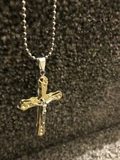 Fashion Jewelry Pendant Chain Sword Cross Jesus Crucifix Necklace Silver Plated