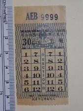 "Hong Kong ""The KMB Co. (1933) Ltd."" 30c Ticket Lucky No. ""AEB 9999"" Rare"