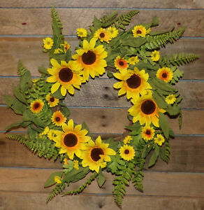 """Large 22"""" Sunflower Wreath Front Door Wall Floral Decor Artificial Floral Wreath"""