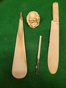 Antique Job Lot Of 4 Bone? Items