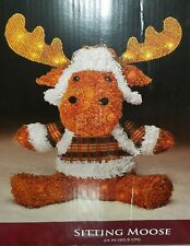 "NEW Christmas 24"" Lighted Sitting Moose Sculpture PreLit Yard Decoration"