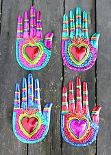 Mexican Tin Milagros - SOLD SEPARATELY - Hand with Heart in palm Oaxaca Folk Art