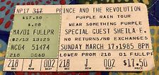 PRINCE AND THE REVOLUTION - PURPLE RAIN TOUR TICKET - MARCH 17, 1985-WEAR PURPLE