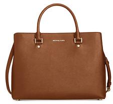 Michael Kors Savannah XL Extra Large Saffiano Satchel Bag Luggage Brown Gold NWT