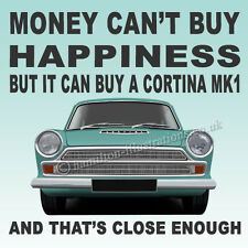 Ford Cortina Mk1 Super GT  Art illustration Drinks Coaster **BLUE**