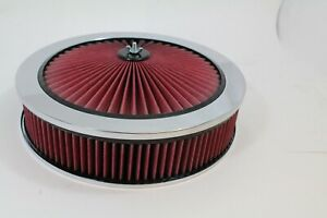 """14"""" x 3"""" Round Super Flow Air Cleaner Kit Washable Element Recessed Base"""