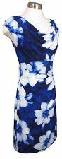16 RALPH LAUREN Navy Blue Floral Cowl Neck Jersey Cap Sleeve Sheath Dress NWT