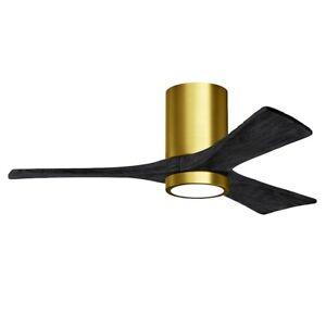 """Matthews Fan Co. Irene 3HLK 42"""" LED Ceiling Fan, Brass/Black - IR3HLK-BRBR-BK-42"""