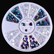 3D Nail Art Chameleon Rhinestones Decoration Wheel Heart Marquise Pattern DIY