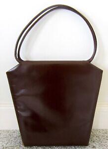 Vintage 1960s Brown Leather Unique-Shaped Handbag SYDNEY OF CALIFORNIA