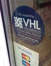 VHL von Hippel Lindau Disease Charity Window Car Vinyl Sticker (VHL, BHD, HLRCC)