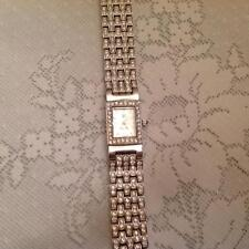 Pavé and Princess Crystal Link Bracelet Swivel Band Watch Victoria Wieck  NEW