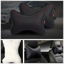 2 X Breathable Wear-Resistant Black PU Leather Car SUV Headrest Neck Rest Pillow