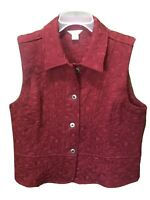 Women's CHRISTOPHER & BANKS Quilted Button Vest Dark Red Sz S
