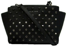**MICHAEL KORS SELMA STUDDED Black Saffiano Leather MD Satchel Bag Msrp $298.00