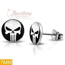 7mm | Stainless Steel 3-tone Skull Ghost Circle Stud Biker Earrings (pair)