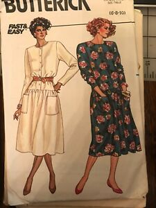 3459 Butterick Vintage 80's Drop Waist Dress Pattern Sz. 6-10 Complete