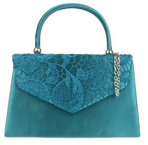 Women Lace Satin Flap Handle Clutch Bag Wedding Party Night Out