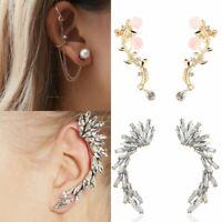 Punk Gothic Crystal Rhinestone Ear Clip Cuff Wrap Stud Earrings Party Fashion
