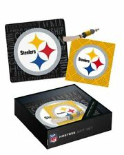 NFL It's A Party Glass Cheese Tray Gift Set Pittsburgh Steelers